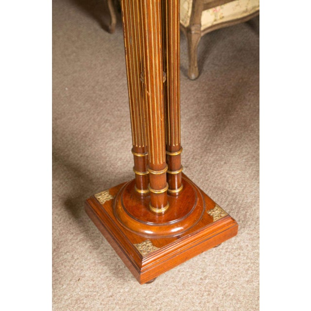 Traditional Regency Style Mahogany Column Pedestals Square Marble Tops Brass Accents - a Pair For Sale - Image 3 of 8