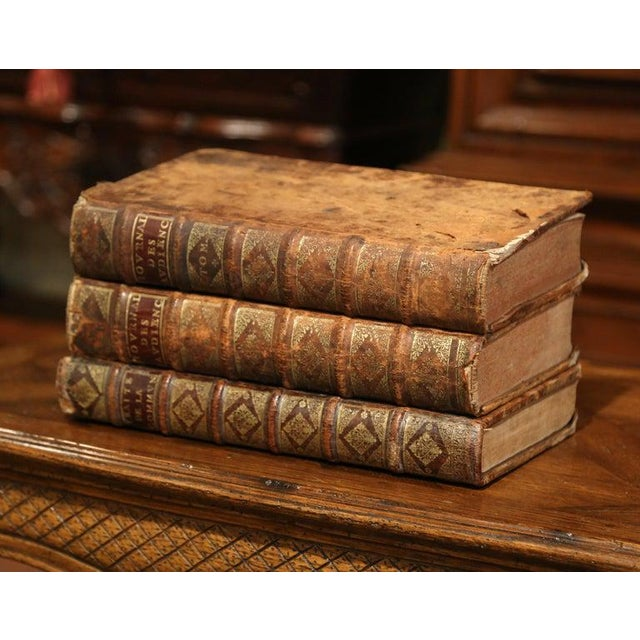 French 17th Century French Leather Bound Decorative Books Dated 1692-1700 - Set of 3 For Sale - Image 3 of 11