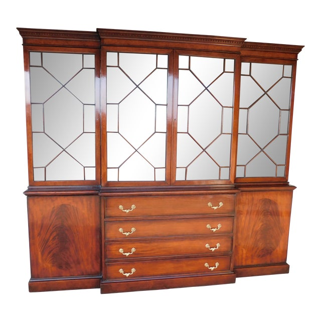 """Antique Georgian Style Mahogany 2pc Breakfront Bookcase Cabinet 95""""w For Sale"""