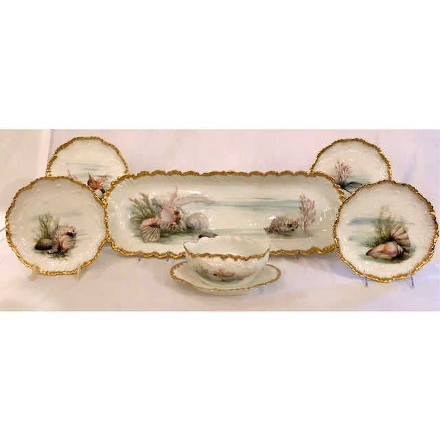 Late 19th Century Antique French Limoges Porcelain Fish Service of 12 Plates, 1 Platter and 1 Sauce Bowl. For Sale - Image 5 of 5