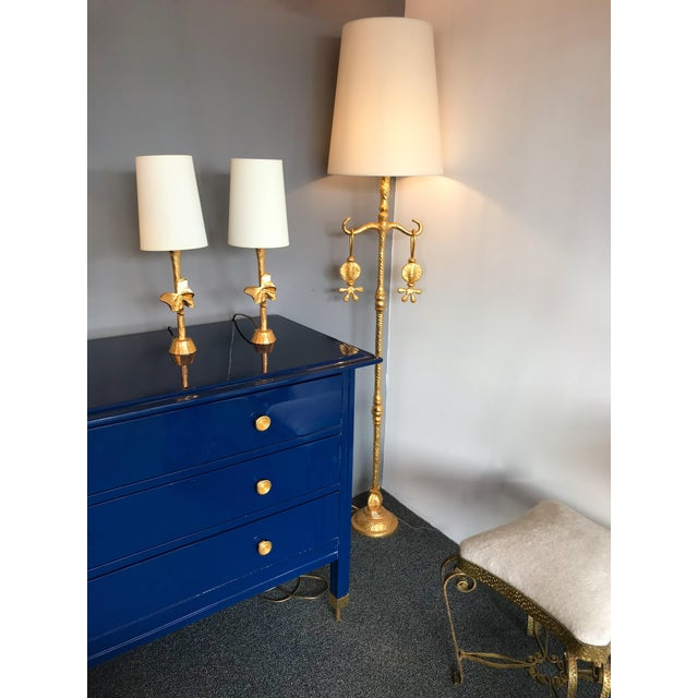 Hollywood Regency Pair of Bronze Style Butterfly Lamps by Fondica, France, 1980s For Sale - Image 3 of 9