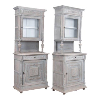 Antique Belgian Country Oak Buffe - a Pair For Sale