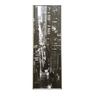 """ 47th Street Evening "" Jim Alinder Vintage Black & White Photo Lithograph Print Framed New York City Poster For Sale"