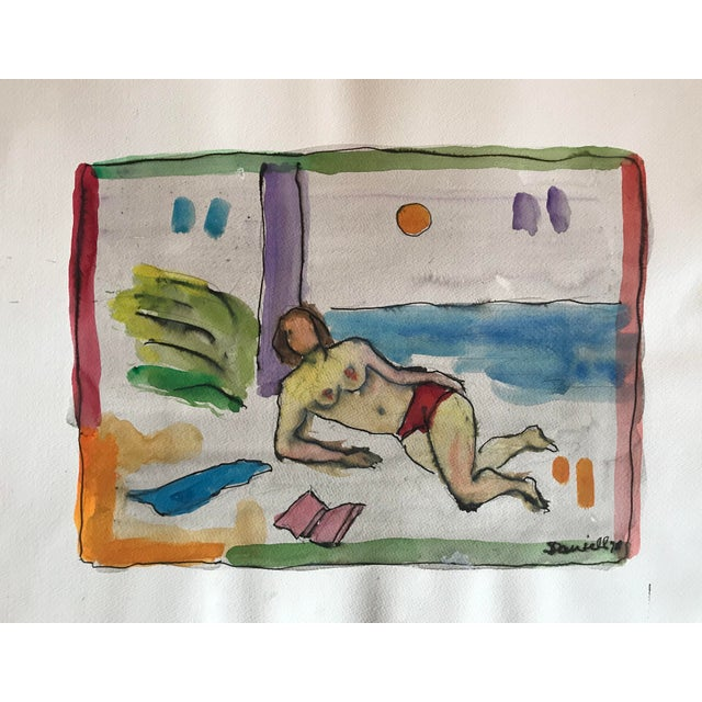 Double sided watercolor by George Daniell (1911-2002) Male Nude, Still Life On back, 1978 Watercolor, 14 x 20 inches...