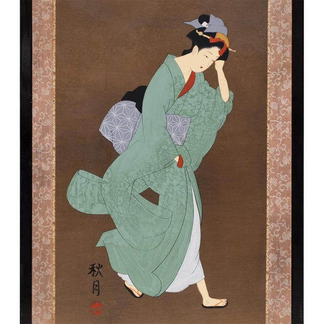 A large antique Japanese painted panel depicting a beautiful running geisha in Ukyo-e style. Signed. Kano school...