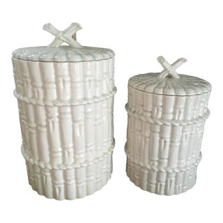 Vintage Chinoiserie Spanish Mid Century Modern Faux Bamboo Canisters - a Pair For Sale
