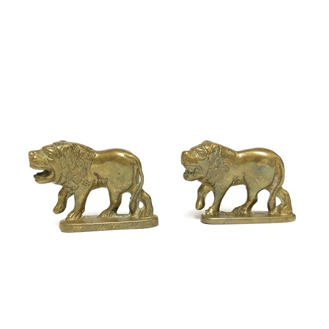 1960s 1960s Vintage Solid Brass Lion Figurine- a Pair For Sale - Image 5 of 5