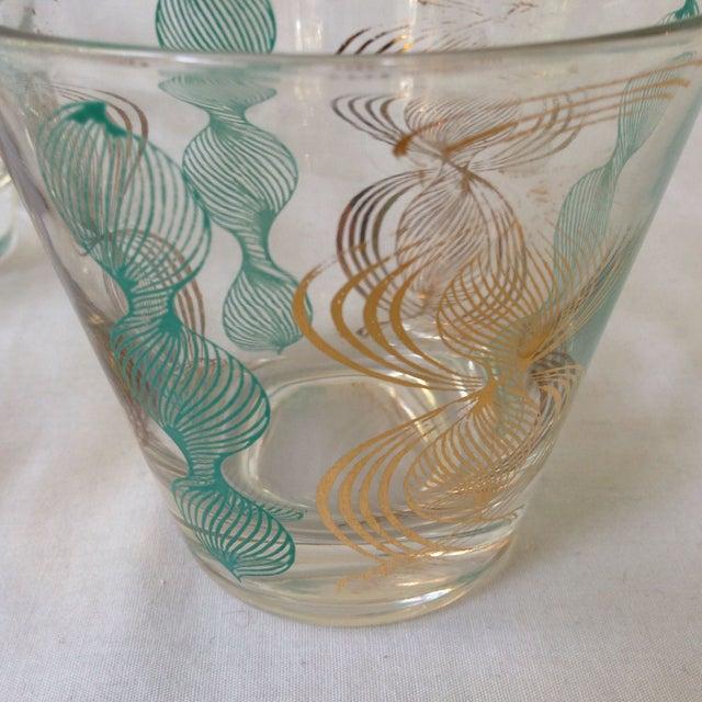 Vintage Gilt and Blue Bar Glasses For Sale - Image 5 of 5