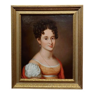 Early American School-Portrait of a Young Lady withA Pearl Neckless-Oil Painting For Sale