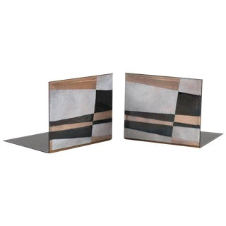 Robert Wuersch 1950s Mid-Century Modernist Enamel on Copper Pair of Bookends