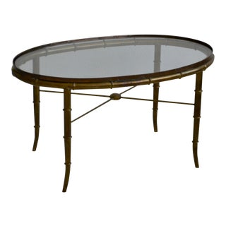 1960s Hollywood Regency Italian Brass Faux Bamboo Table For Sale