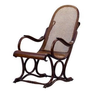 1890s Bentwood Cane Salonfauteuil Thonet No. 1 Easy Chair For Sale