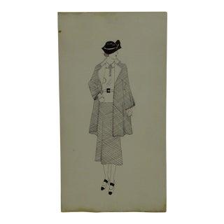 "1930s Mid-Century Modern Fashion Sketch/Drawing, ""Jacket - Belt - Skirt"" For Sale"