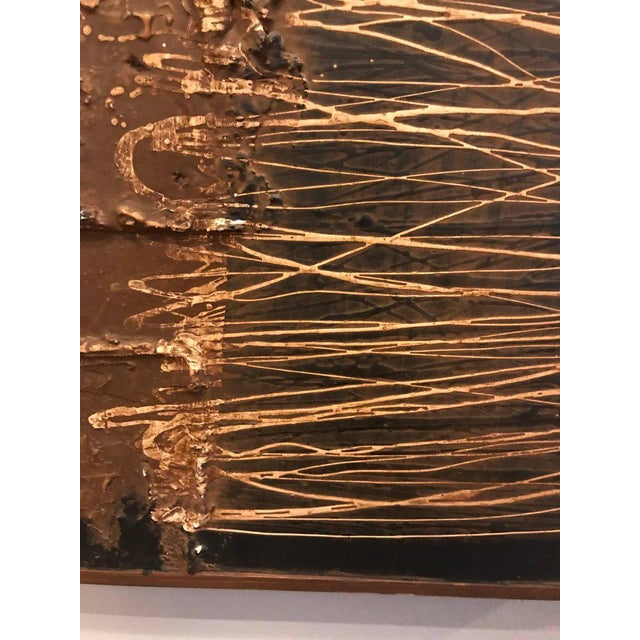 1960s MCM Fine Abstract Oil on Board Signed by Michels Dated 1961, 'Copper Bleeding' For Sale - Image 5 of 11