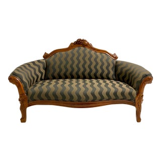 1910s Antique Hand Carved Love Seat For Sale