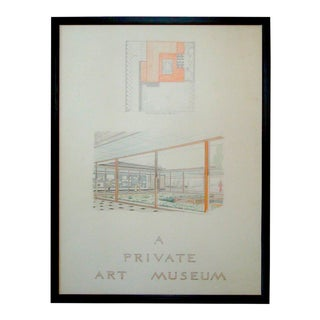 Midcentury Modern Architect's Sketch Rendering Poster For Sale
