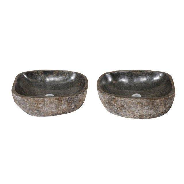 Natural Handcrafted River Rock Sinks-A Pair For Sale - Image 11 of 11