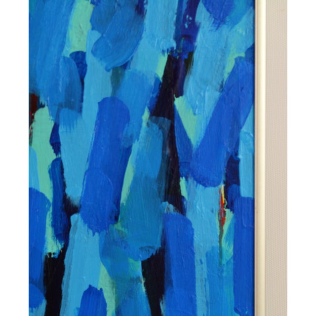 Blue 'Through the Blue' Original Abstract Painting by Lars Hegelund, 25 X 25 In. For Sale - Image 8 of 11