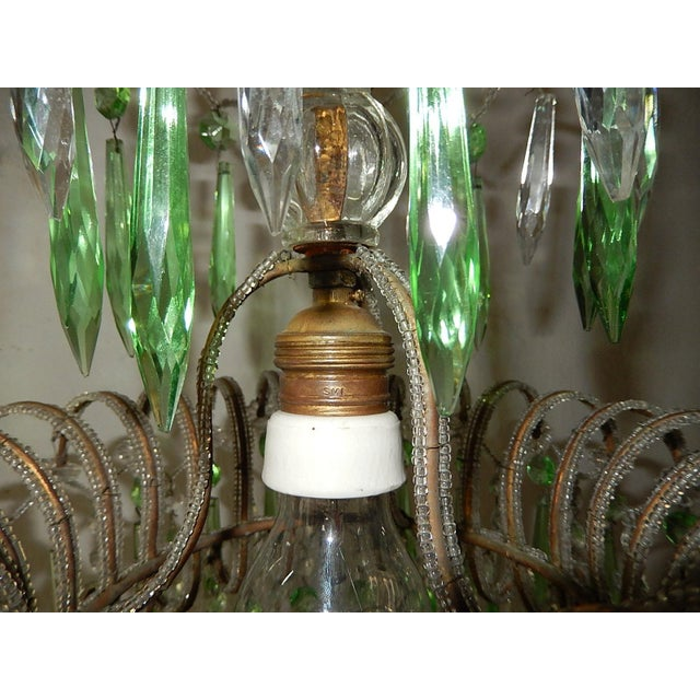 Italian Micro-Beaded Green Crystal Prisms Chandelier For Sale In Los Angeles - Image 6 of 10