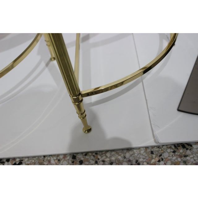 Mid-Century Modern Demi-Lune Drinks or Side Tables Brass and Smoked Glass - a Pair For Sale - Image 11 of 13