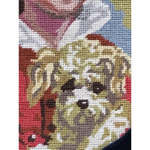 Precious Petite Hand Made Needlepoint Art Piece of a Golden Haired Boy and His Dog For Sale In West Palm - Image 6 of 7