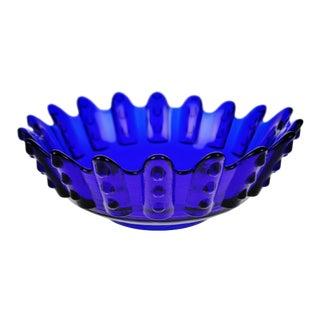Vintage Cobalt Blue Glass Centerpiece Bowl