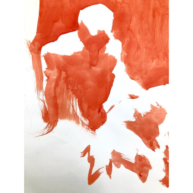 """Contemporary Figure Painting in Orange Ink, """"Seated Figure in Orange"""" by Artist David O. Smith For Sale - Image 9 of 12"""