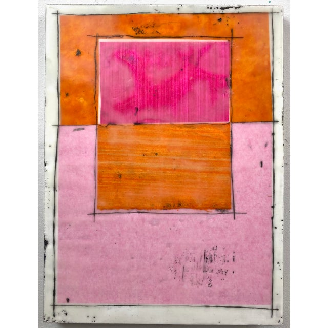 """Tickled"" Encaustic Collage Painting - 9 Piece Installation by Gina Cochran - Pink & Orange For Sale - Image 10 of 13"