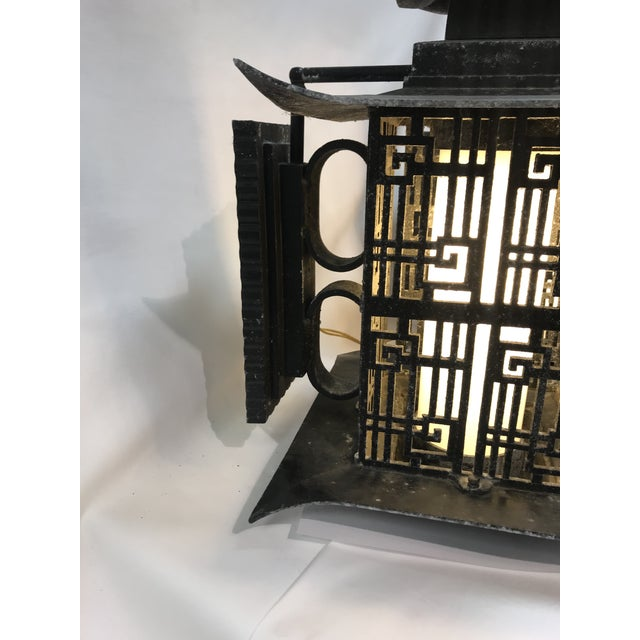 Metal Asian Pagoda Outdoor Metal Chinese Lattice Patterns Wall Sconces- a Pair For Sale - Image 7 of 10