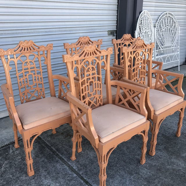Vintage Fretwork Chinese Chippendale Dining Chairs - Set of 5 For Sale - Image 12 of 13