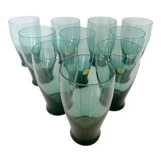 Mid-Century American Modern Hand-Blown Smoked Glass Tumblers by Russel Wright - Set of 10 For Sale