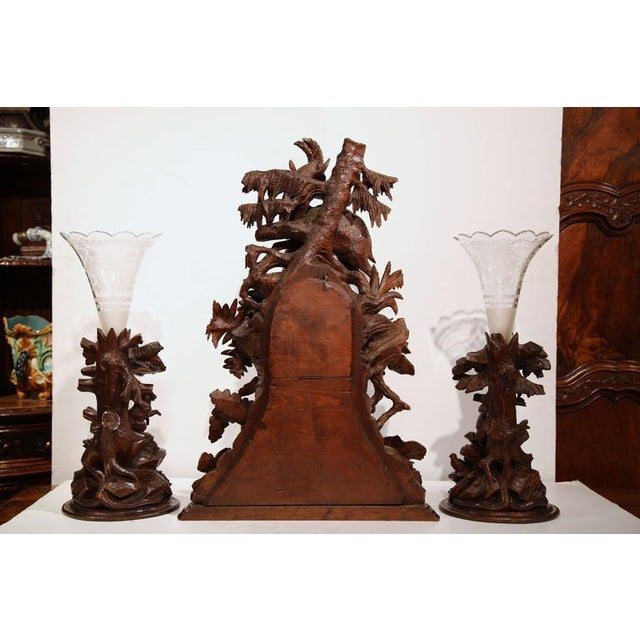 Brown Monumental 19th Century Carved Walnut Black Forest Clock With Matching Vases For Sale - Image 8 of 10