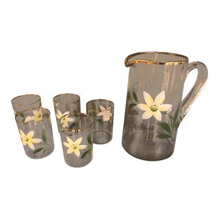 1970s Painted Flower Glass Pitcher & Glasses - Set of 6 For Sale