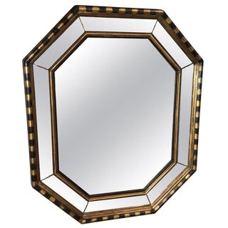 Vintage Chapman Hollywood Regency Octagonal Mirror With Stripes For Sale