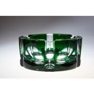 Heavy Hexagonal Emerald Green Crystal Ashtray Preview