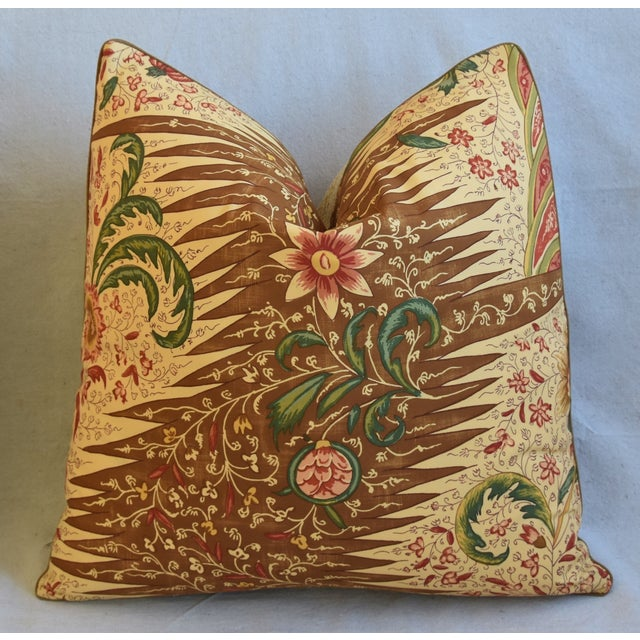 """Late 20th Century French Pierre Frey La Riviere Feather/Down Pillows 21"""" Square - Pair For Sale - Image 5 of 13"""