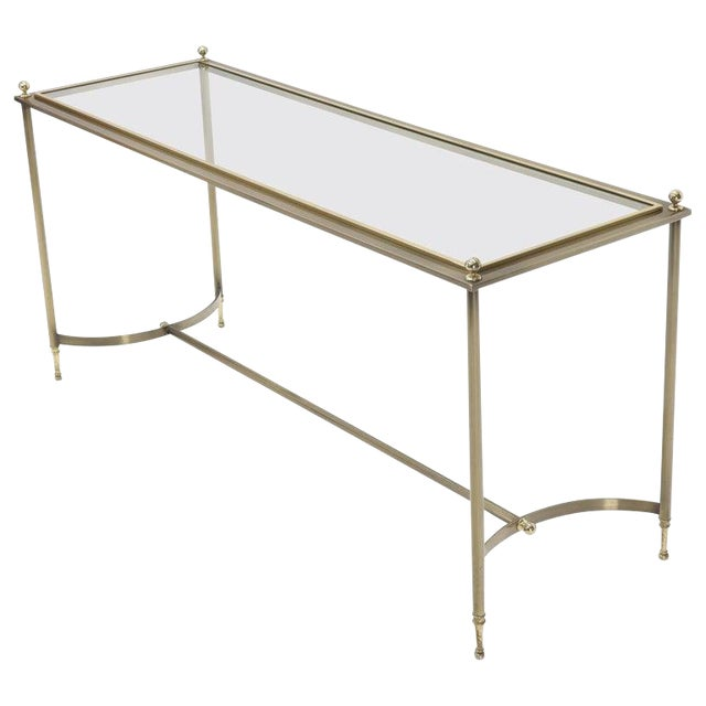 Midcentury Two-Tone Metal Brass and Steel Arch Stretcher Console Sofa Table For Sale