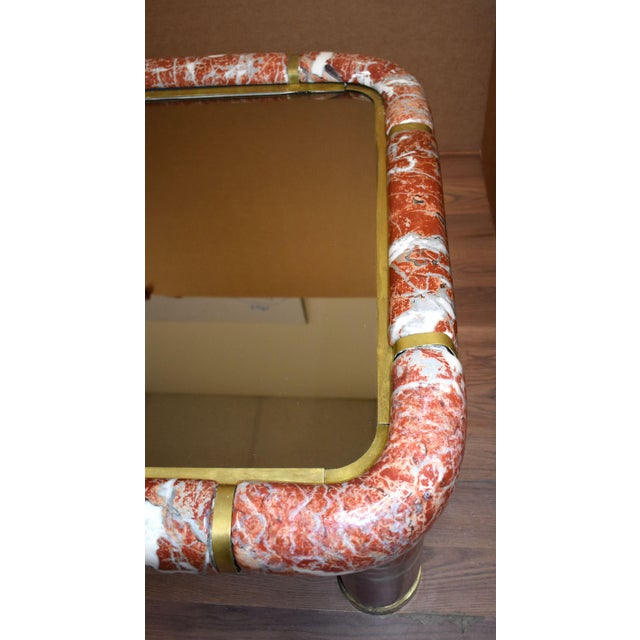 1970s Tommaso Barbi Ceramic Coffee Table With Mirror Top For Sale - Image 9 of 13