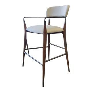 Henredon Furniture 1945 Collection Brushed Black Nickel Madison Bar Stool For Sale