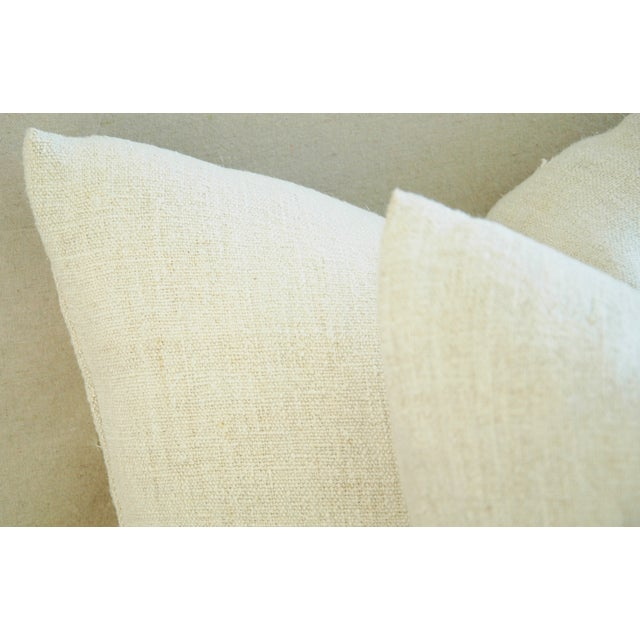 French Grain Sack Down & Feather Pillows - Pair - Image 9 of 9