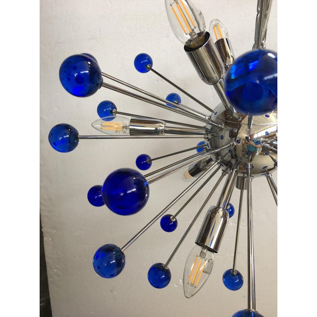 Early 21st Century Murano Glass Chandelier in Sputnik Style With a Kromo Frame For Sale - Image 5 of 7