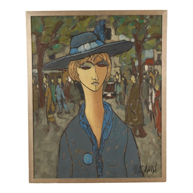 Painting of a Lady in Blue by Philippe Marchand For Sale