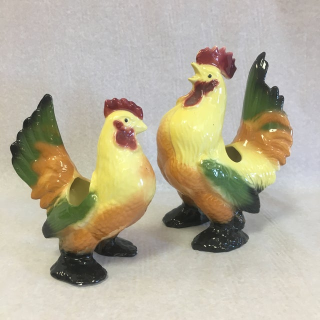 Vintage Ceramic Chicken & Rooster Planters-A Pair For Sale - Image 10 of 10