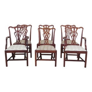 Chippendale Style Mahogany Dining Room Chairs - Set of 6 For Sale