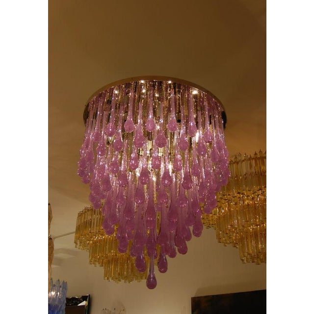 Toso Murano Toso Large Amethyst Glass Teardrop Chandelier For Sale - Image 4 of 4