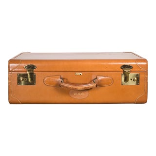 Vintage Mongrammed Leather Luggage C.1940 For Sale