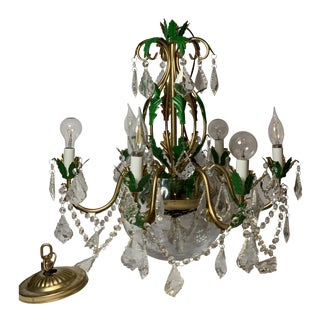 Tole Gold Chandelier With Prisms and Hand Painted Green Leaves For Sale