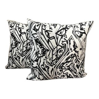 Black and White Abstract Pillows - a Pair