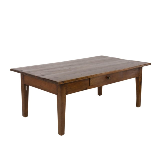 Brown 1870 French Walnut Low Table With Center Drawer For Sale - Image 8 of 8