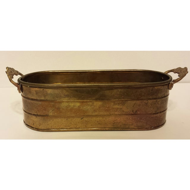 Oblong Solid Brass Planter With Flower Handles - Image 3 of 9